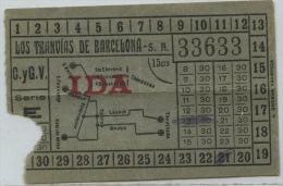 BILLETE DE CORRESPONDENCIA DE LOS TRANVIAS DE BARCELONA // (REF 6+TC) - Tram