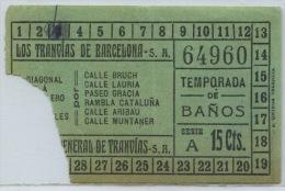 BILLETE DE CORRESPONDENCIA DE LOS TRANVIAS DE BARCELONA // (REF 6+TC) - Tranvías