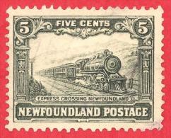 Newfoundland # 167 - 5 Cents - O - Dated 1929-1931 - Express Train /  Train 'Express' - Terre-Neuve