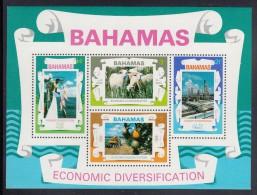 Bahamas MNH Scott #377a Souvenir Sheet Of 4 Sheep, Fishing, Farming, Oil Refinery - Economic Diversification - Bahamas (1973-...)
