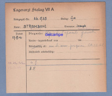 Document Ancien - STALAG VII A - Militaire STROMBONI De Sainte Lucie De Tallano Corse , Prisonnier - 173e Régiment - 1939-45