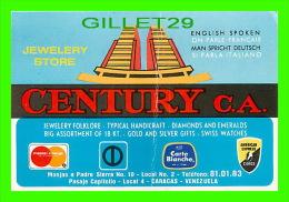 CARTES DE VISITE - CENTURY JEWELER´S  SHOP, CARACAS VENEZUELA - SPECIAL PRICE FOR TOURIST - - Cartes De Visite