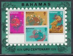 Bahamas MNH Scott #361a Souvenir Sheet Of 4 Different UPU Emblems - 100th Anniversary Of UPU - Bahamas (1973-...)