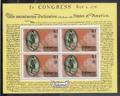 Bahamas MNH Scott #393a Souvenir Sheet Of 4 $1 John Murray, Earl Of Dunsmore - American Bicentennial - Bahamas (1973-...)