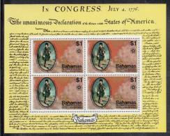 Bahamas MNH Scott #393a Souvenir Sheet Of 4 $1 John Murray, Earl Of Dunsmore - American Bicentennial - Indépendance USA