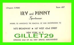 CARTES DE VISITE - IRV AND PINNY SPORTSWEAR - NEW YORK, NY - TRAVEL IN 1969 - - Cartoncini Da Visita