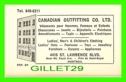 CARTES DE VISITE - CANADIAN OUTFITTING CO LTD - ST LAWRENCE BLVD, MONTREAL - - Cartes De Visite