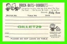 CARTES DE VISITE - BRICK-BATS OR BOUQUETS... BY BILLY ROSE - - Cartes De Visite