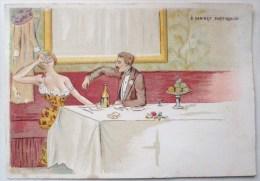 Litho Illustrateur SAGER ? CONRAD ? Thiele  Cabinet Particulier Femme Tenue Legere Decolleté Homme GRIVOIS Vin Cigarette - Ante 1900