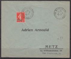 = Semeuse N°225 Surchargé 50c Sur 1f05 Vermillon De Moyeuve Grande à Metz 11.6.27 - Marcophilie (Lettres)