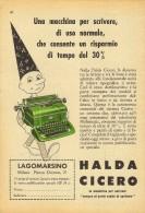 # HALDA CICERO MACCHINA DA SCRIVERE  1950s Advert Pubblicità Publicitè Reklame Typewriter Machine Ecrire Schreibmaschine - Altre Collezioni