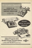 # UNDERWOOD CALCULATORS New York 1950s Italy Advert Pubblicità Publicitè Reklame Calcolatrice Calculatrice Rechner - Other