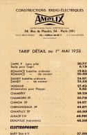 AMPLIX  Radio - Paris - Tarif Détail - Publicités