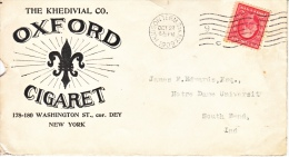 US  COVER  OXFORD  CIGARET  NEW  YORK   1909 - United States