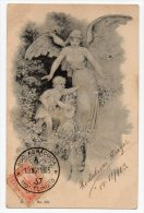 Ca1900 Fairy Angel Wiht Children Artist Signed Vintage Original Postcard Cpa Ak (W4_106) - Angeles