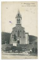 CPA -HAUTERIVES -L' EGLISE -STATUE DU GENERAL DE MIRIBEL -Drôme (26) -Circulé 1922 -Animée -Edit. Courtois, Cliché B. F. - Hauterives
