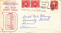 US  COVER  SPORTS  FOOTBALL  DENISON  UNIV.  GRANVILLE,  OHIO  1926  POSTAGE  DUES - Covers & Documents