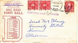 US  COVER  SPORTS  FOOTBALL  DENISON  UNIV.  GRANVILLE,  OHIO  1926  POSTAGE  DUES - United States