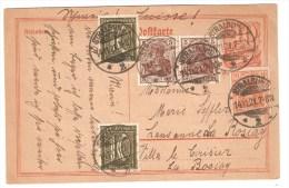 POSTKARTE + ZUSATZFRANKATUR Gest. STRALSUND 14.11.1921 Nach SCHWEIZ Voir Description - Ganzsachen