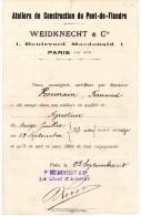DOCUMENTS COMMERCIAUX, Attestation Employeurs, ATELIER DE CONSTRUCTION DU PONT-de-FLANDRE, Le 23 Sept 1912 (fr:1.40) - Autres
