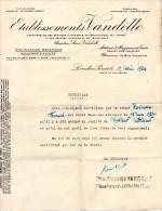 DOCUMENTS COMMERCIAUX, Attestation Employeur, ETABLISSEMENT VANDELLE, Le 19 Avril 1924, (fr : 1.40) - Autres