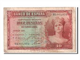 [#303796] Espagne, 10 Pesetas Type Silver Certificate - [ 2] 1931-1936 : Repubblica