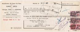 1937 MANUFACTURE DE GANTS DE PEAU GANT GEO GEORGES EMILE & GONFANS PETIT NICE ROUTE DES AUMIERES MILLAU AVEYRON - Letras De Cambio
