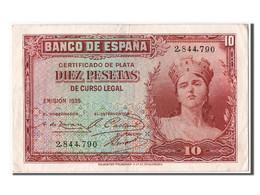 Espagne, 10 Pesetas Type Silver Certificate - [ 2] 1931-1936 : République