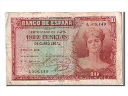 [#303793] Espagne, 10 Pesetas Type Silver Certificate - [ 2] 1931-1936 : République