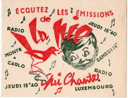 Buvard  Radio, Musique, écoutez  Les  émissions  De  La  Pie  Qui  Chante - Papel Secante