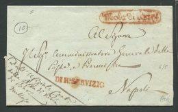 1846  RARA PREFILATELICA DA    MOLA DI  BARI   X  NAPOLI  + REAL SERVIZIO   ASSENTE IL TESTO - 1. ...-1850 Prefilatelia