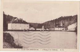 CPSM Sépia  - CLAUDON DROITEVAL (88) - L'étang Et Le Château  - 1955 - Altri Comuni