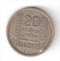 """France Colonie ALGERIE, Monnaie 20 F , 1949 """" Epi """", Bon état - Colonias"""