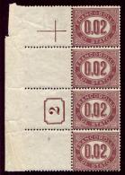 Italia Regno 1875 Servizio Sass.Serv.1 Striscia Di 4 Con Numero Di Tavola **/MNH VF - RARA - 1861-78 Vittorio Emanuele II