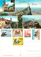 San Marino Postcard 1950s 1960s Stamps - San Marino
