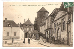 § TOP - PROMO § 71 - CHAROLLES Tribunal De Commerce Et Hôtel De Ville Animée écrite Timbrée - Charolles