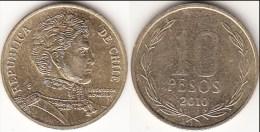 Cile 10 Pesos 2010 (Normal Rim) KM#228.2 - Used - Cile