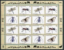 Nations Unies - New York** N° 1114 à 1117 En Feuille - Espèces Animales Menacées : Libellule, Fourmi, Rosalie, Papillon - New-York - Siège De L'ONU