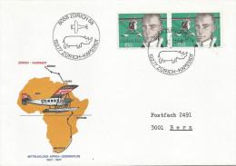 Switzerland 1977 Zürich Commemorative Flight To Cape Town Rhinoceros Cover - Rhinozerosse