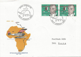 Switzerland 1977 Zürich Commemorative Flight To Gao Mali Elephant Cover Stop On Return Flight - Mali (1959-...)