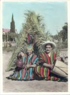 CAPILLA DEL MONTE CORDOBA AÑO 1950 FOTO COLOREADA A MANO PONCHOS PAVA DE COBRE - Places