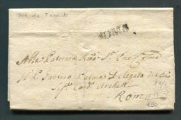 1804 RARA PREFILATELICA DA  TARANTO  X ROMA   INTERESSANTE DOCUMENTO STORICO - 1. ...-1850 Prefilatelia