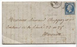 014. Rare Lettre De Toulon (19 Décembre 1862) PRECURSEUR Avec Un N° 14B - Postmark Collection (Covers)