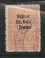 YUGOSLAVIA 1921 GENERAL REVENUE SERBIA ISSUE OPT BLACK 1 DINAR ORANGE USED BF#066 - Usati