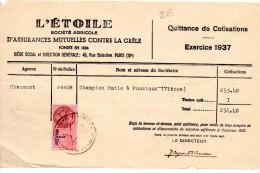 FACTURES, QUITTANCE DE COTISATIONS, Exercice 1937, L'ETOILE, Sté Agricole D'Assurances..., (fr : 1.40) - Bank & Insurance