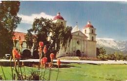 POSTCARD MISSION SANTA BARBARA. FATHERS LASUEN AND PATERRA. UNCIRCULATED. GECKO.