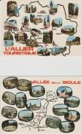 R : Allier : Carte  Géographique :  2  Cartes ( Moulins, Vichy,rouzat,souvigny,lapalisse, Etc..... - France