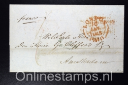 Great Brittain , Complete Letter 1845 London Franco/Paid  To Amsterdam , Cancel  ENG CORRESP. Over 'S Hage Korteweg - Niederlande