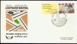 DV2-39b NETHERLANDS 1980 COVER 60 ANNI AIRPORT SCHIPHOL, AEROPHILATELIE DAY. SMALL SIZE. - Postal History
