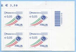ORDINARIA POSTE 0,05 CODICE BARRE 1318 QUARTINA ANGOLO FOGLIO  NUOVI SPLENDIDI - 6. 1946-.. Repubblica